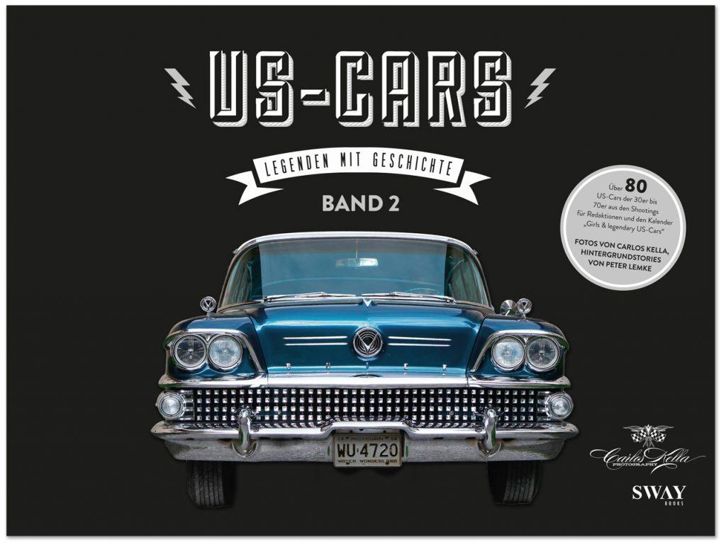 """Der Hardcover-Bildband """"US-CARS – Legenden mit Geschichte – Band 2"""" von Carlos Kella präsentiert auf 296 Seiten über 80 US-Car Raritäten aus den 20er bis 70er Jahren im Detail."""