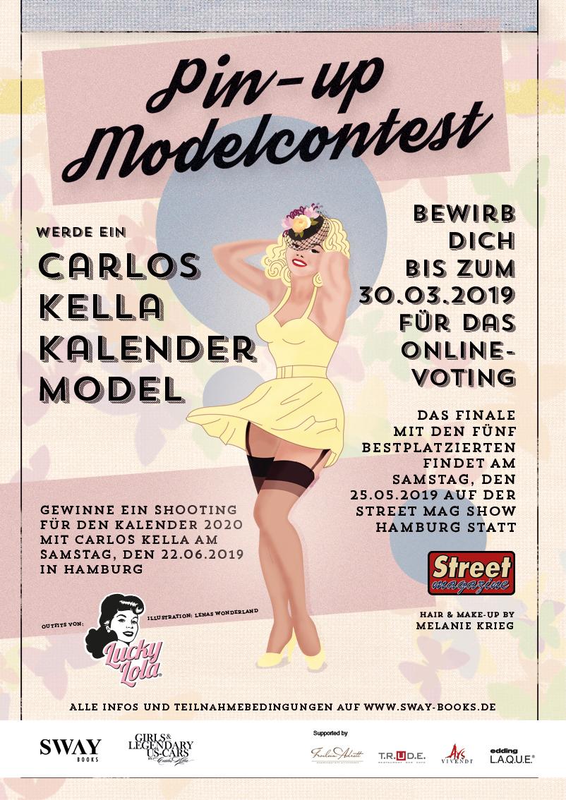 """Carlos Kella Pin-up Modelcontest: Gewinne ein Fotoshooting für den """"Girls & legendary US-Cars"""" 2010 Wochenkalender mit Carlos Kella am Samstag, den 22.06.2019 in Hamburg."""