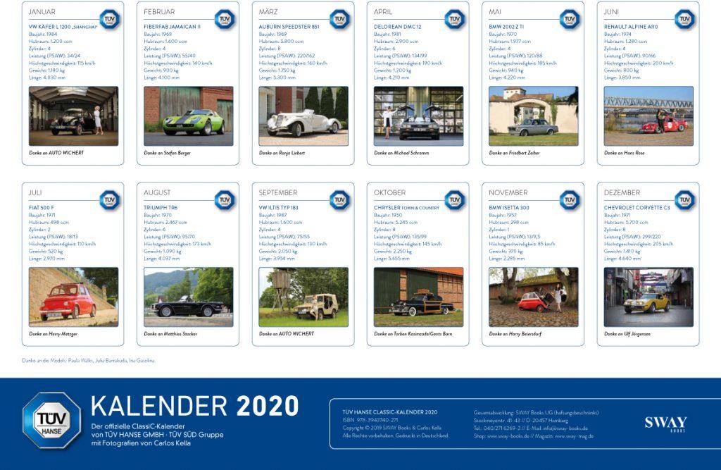 OUT NOW! Der TÜV HANSE Classic Kalender 2020 mit Fotos von Carlos Kella | Photography ist jetzt bei SWAY Books lieferbar.
