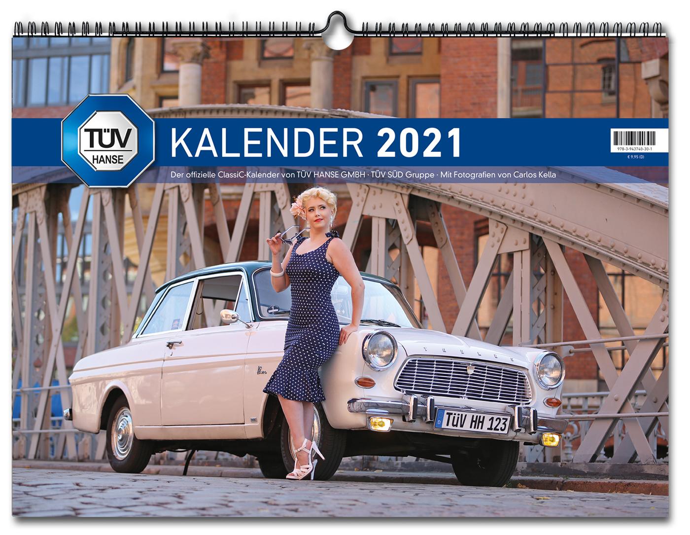 Der offizielle ClassiC-Kalender 2021 von TÜV HANSE GMBH • TÜV SÜD Gruppe mit 12 klassischen Automobilen, die von Carlos Kella | Photography einem der renommiertesten Fotografen der Oldtimer-Szene inszeniert wurden. Auf dem Titel: Paula Walks und ein Ford Taunus 12 MP4 von 1965