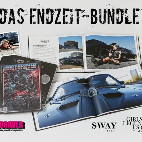 Das SWAY Books Endzeit-Bundle im Mad Max-Style: Der Bildband US-Cars – Legenden mit Geschichte Band 2, die Motoraver Endzeit-Ausgabe #33 und ein exklusiver signierter Foto-Print von Carlos Kella.